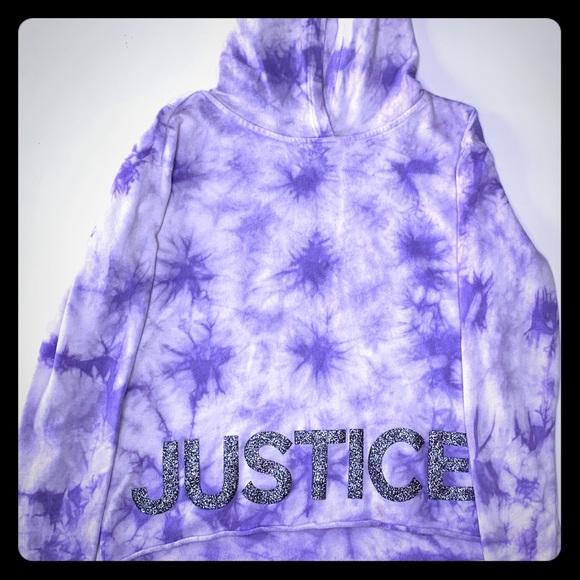 NWT JUSTICE GIRLS 10 Spearmint Tie Die Velour Hoodie